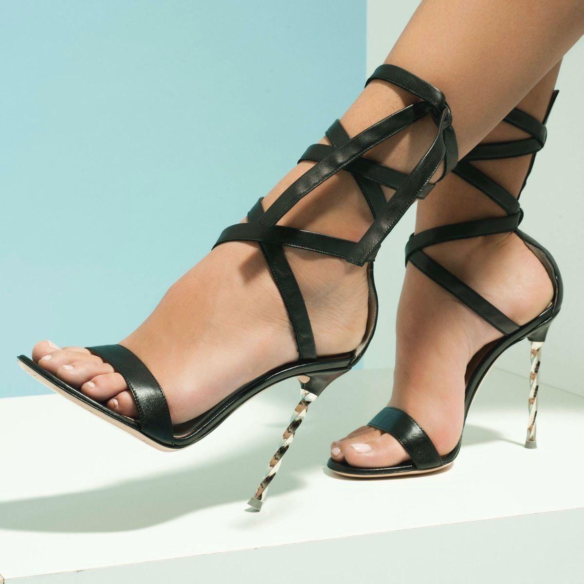 Nude square toe high block heel sandals