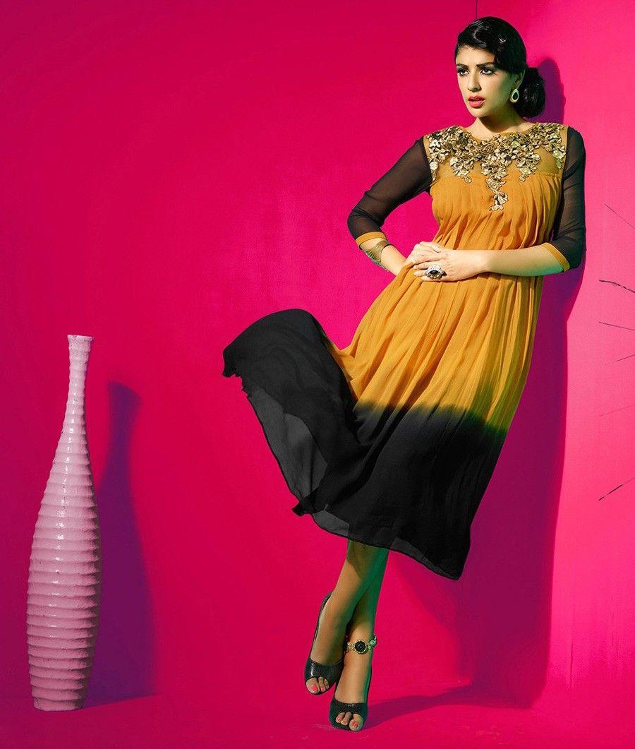 Georgette Black & Orange HOVKAIRM18 Patch Work Designer Kurti - IRM18 In Stock: Rs 1,645