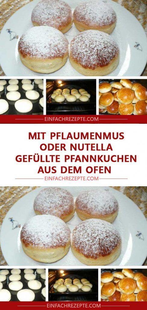 Mit Pflaumenmus oder Nutella gefüllte Pfannkuchen aus dem Ofen