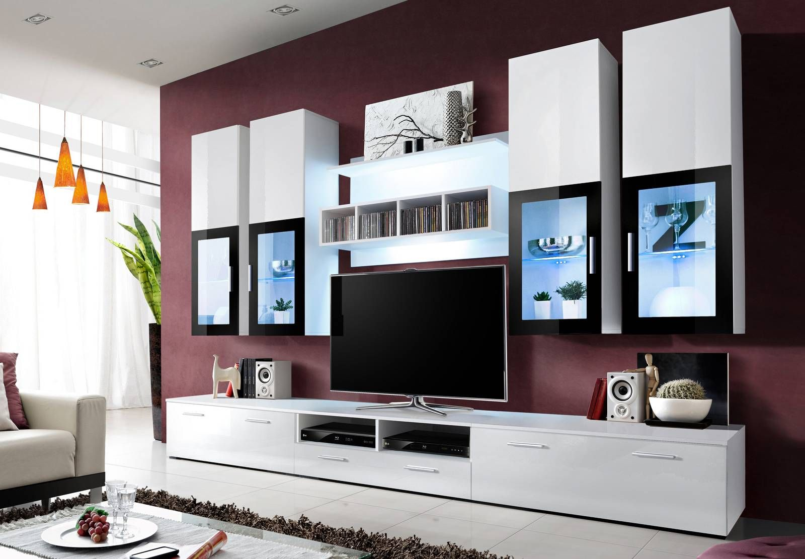 Meuble Tv Design Laqu New York Avec Eclairage Led P030809  # Meuble Tv New York