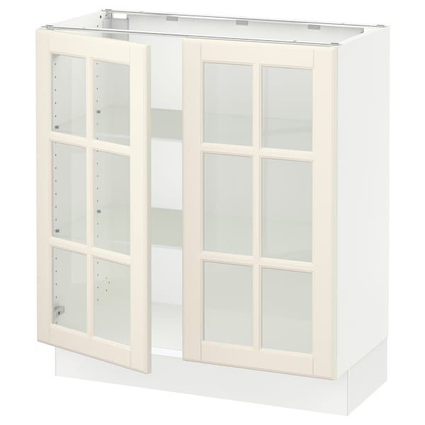 Best Sektion Base Cabinet With 2 Glass Doors White Bodbyn 400 x 300