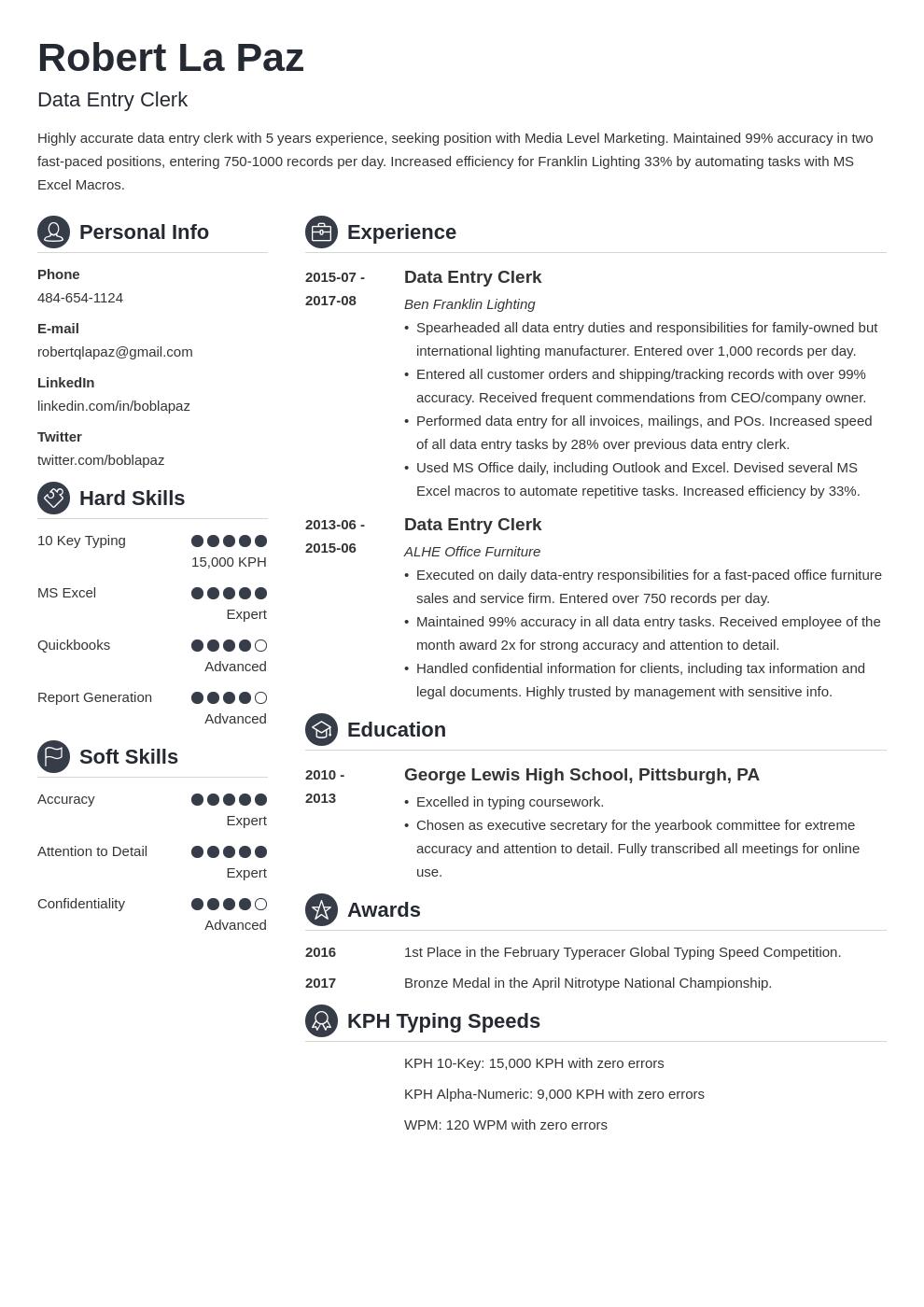 data entry resume example template crisp in 2020 Teacher