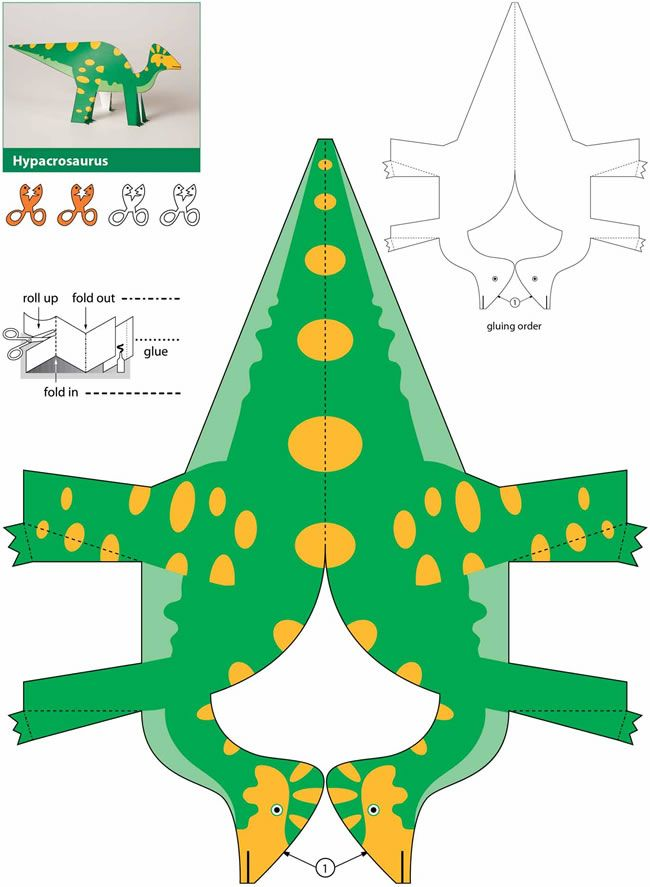 T-Rex /& Co. Papier Spielzeug zum Basteln /& Spielen Bastelvorlage Dinosaurier