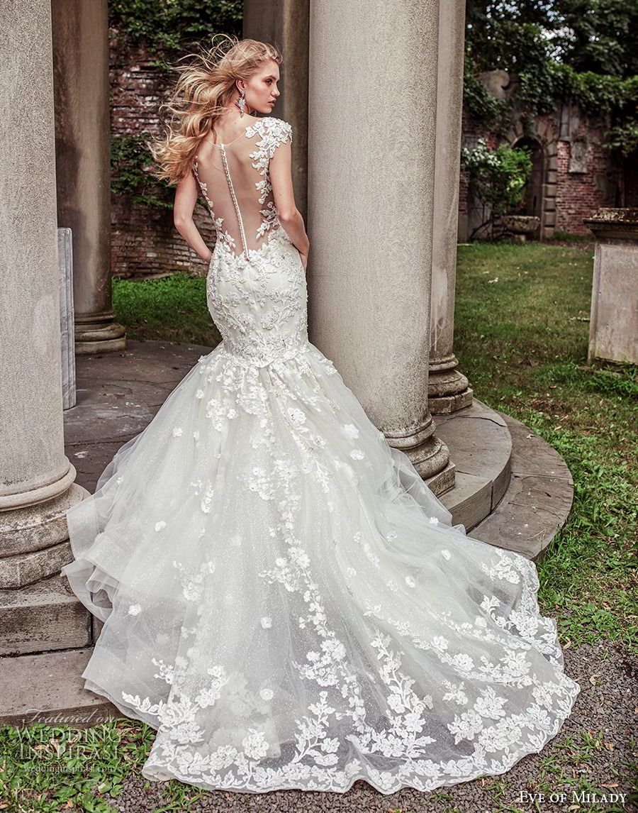 22668f4ef03 eve of milady spring 2018 bridal cap sleeves thick strap sweetheart  neckline heavily embellished bodice elegant mermaid wedding dress sheer  button back ...