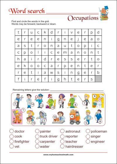 Word search - Occupations - Free Printable Kindegarten&School ...