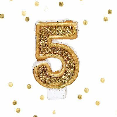 Gold Glitter Birthday Candle Number 5 White Anniversary Cake Topper Five