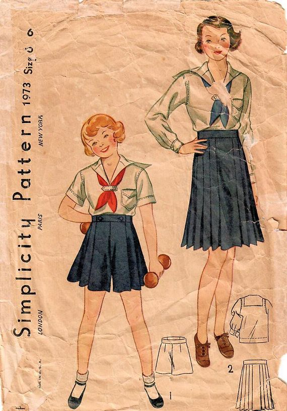 1930s Simplicity 1973 Vintage Sewing Pattern Girls Sailor Blouse ...