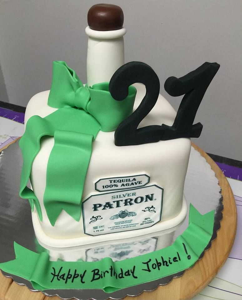 Pleasant 21St Birthday Cake Ideas Tequila Bottle Fondant Cake 21St Personalised Birthday Cards Veneteletsinfo