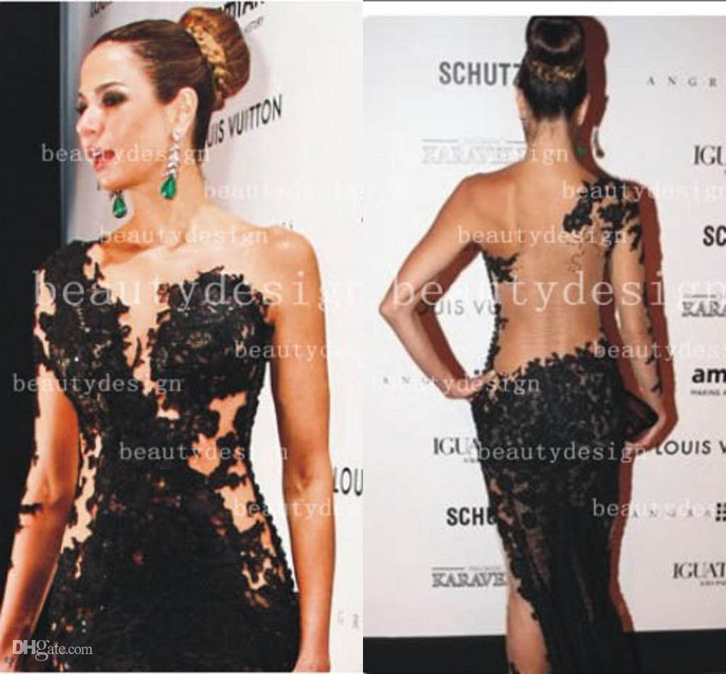 Wholesale Celebrity Dresses - Buy Black Sexy One Shoulder Floor ...