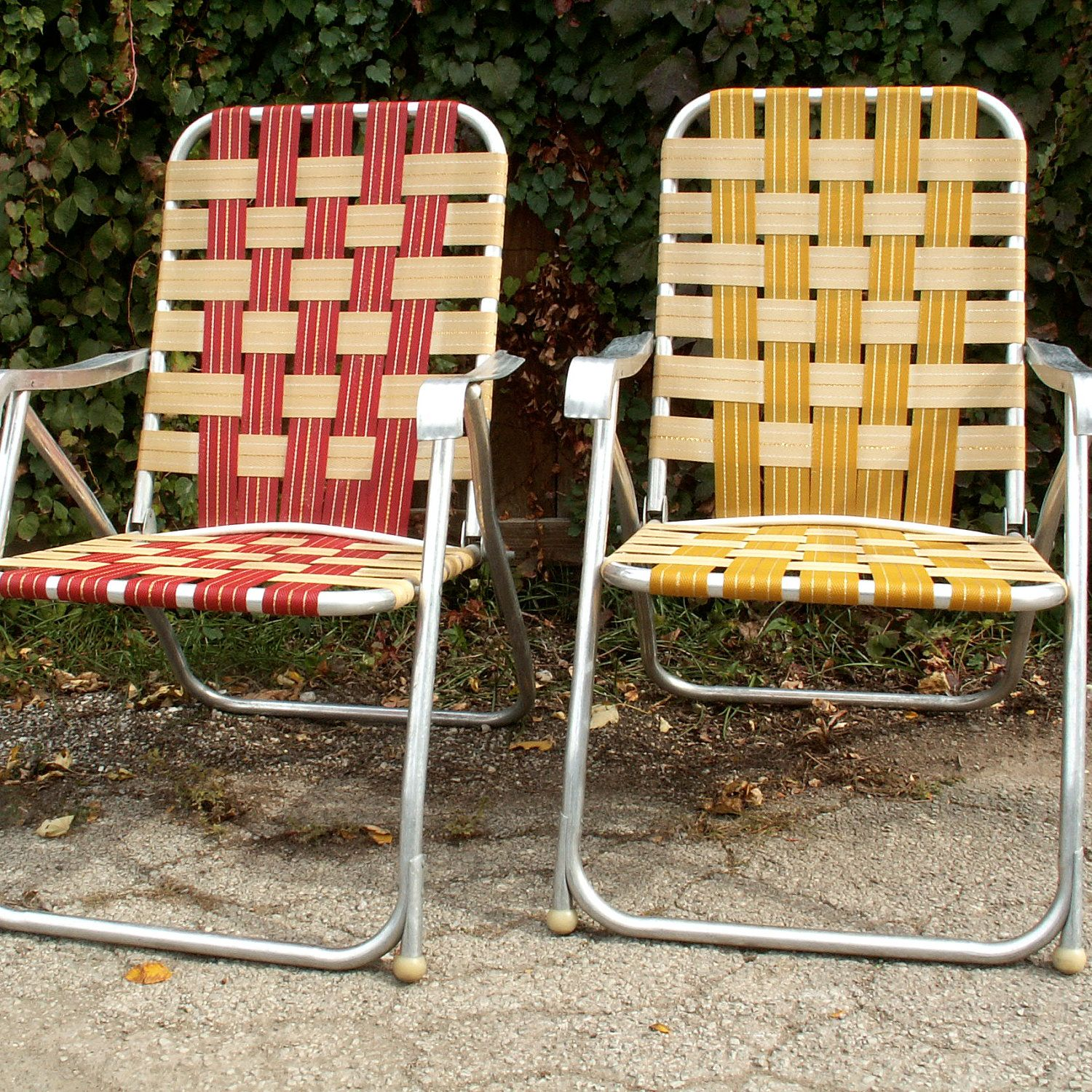 We buy two lawn chairs 2. We trek around the area 3. Find a random spot where no one would think to find two lawn chairs 4. & Two High Back Webbed Lawn Chairs | Lawn Chairs | Lawn chairs Chair ...