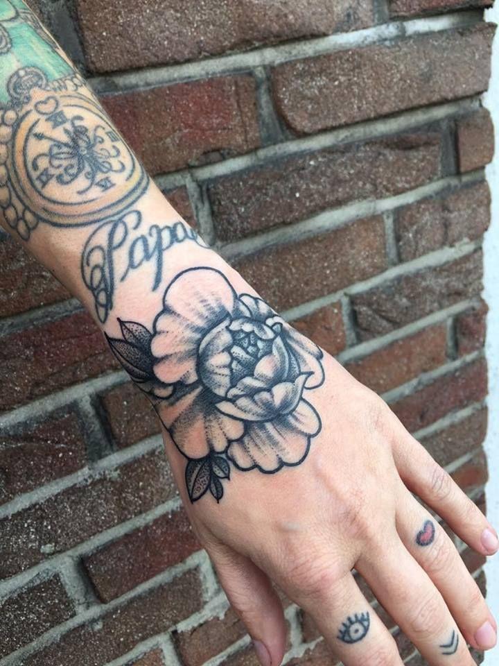 4e4e6f0b7 peony tattoo dotwork blackwork hand handtattoo dotworkpeony  elisabethattatoo blackworkpeony mandala