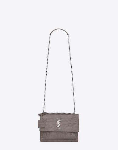 SAINT LAURENT Medium Sunset Monogram Saint Laurent Bag In Fog Crocodile  Embossed Shiny Leather.  saintlaurent  bags  shoulder bags  leather   crossbody   30cb465030caf