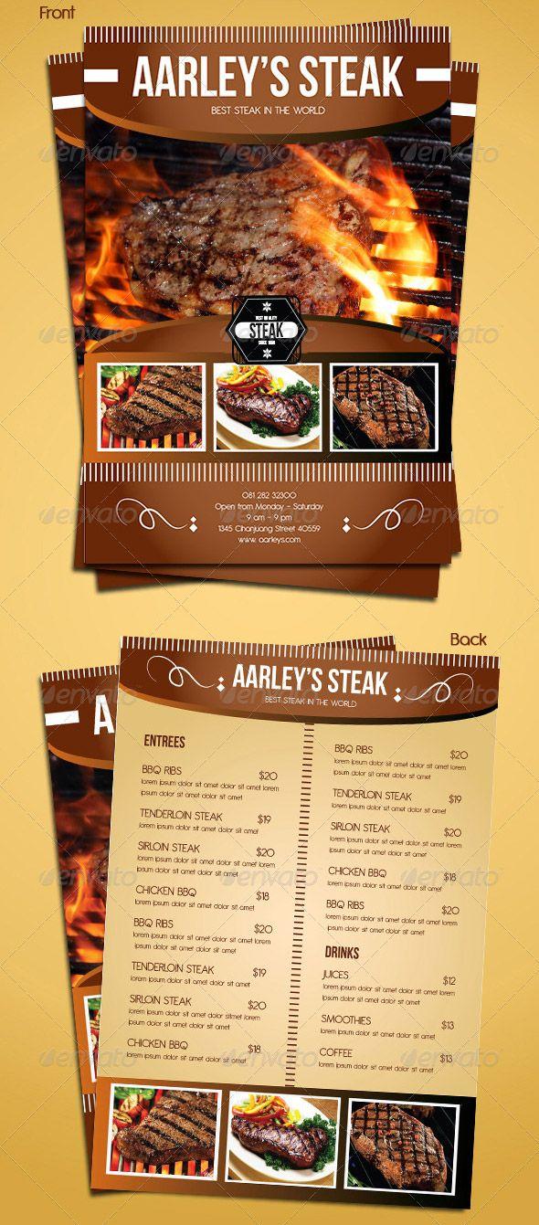 Steak Menu Flyer Template   etlap design   Pinterest   Volantes y ...