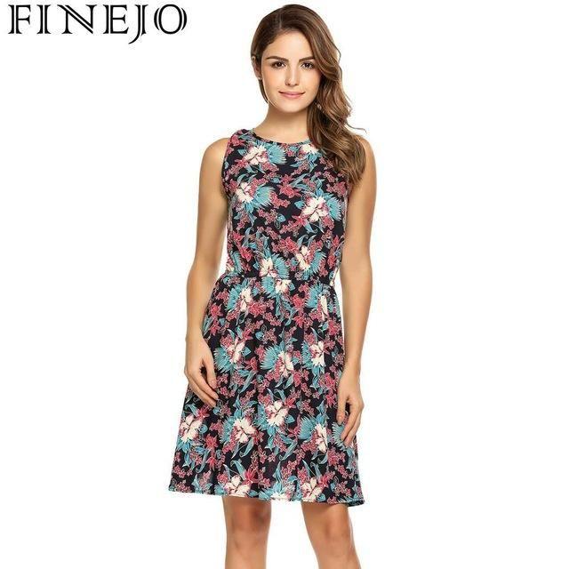 Women Sleeveless Vintage Flowers Floral Print Skater Short Dress Summer Ladies Femme Casual Party Dresses Vestidos Navy Blue L #navyblueshortdress