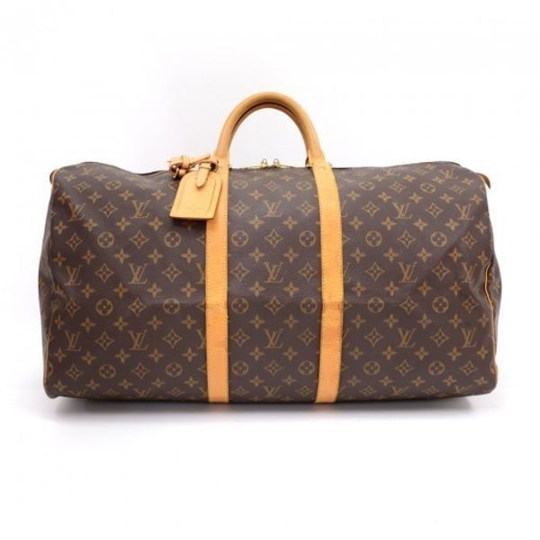Pre-Owned Louis Vuitton Keepall 55 Monogram Canvas Duffle Travel Bag... ($640) ❤ liked on Polyvore featuring bags, luggage and brown