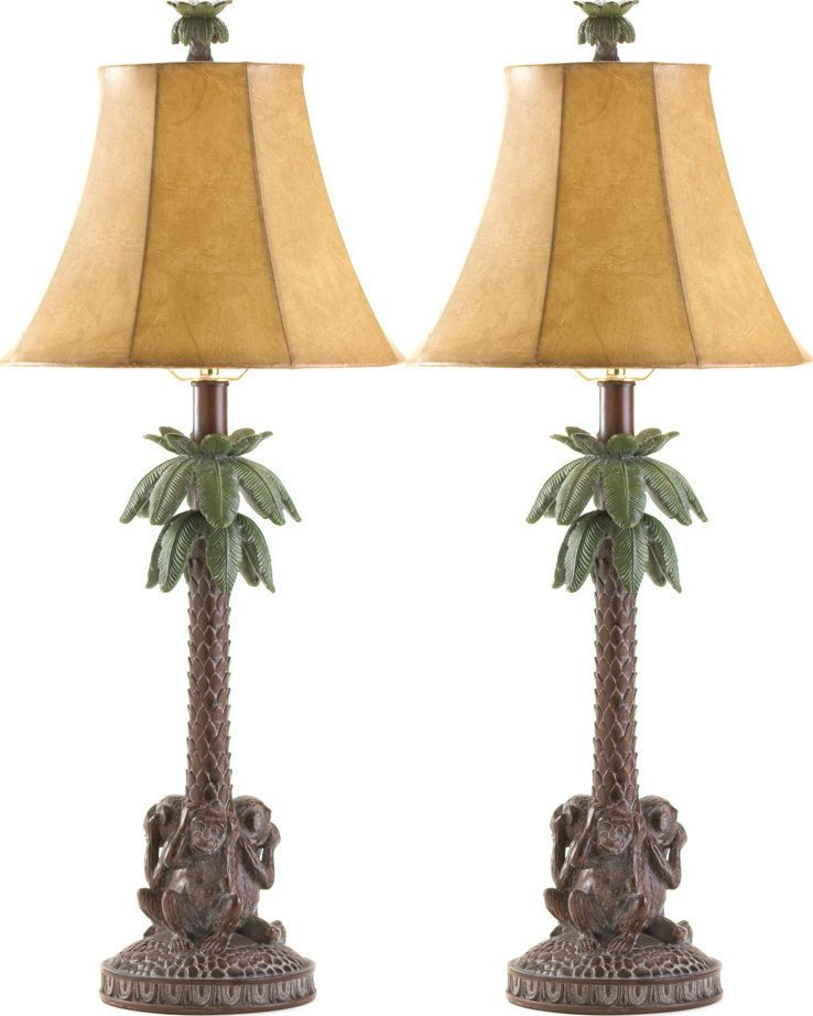 Set Of 2 Tropical Monkeys Palm Tree Lamp Fast Ship Lamp Tree Lamp Table Lamp