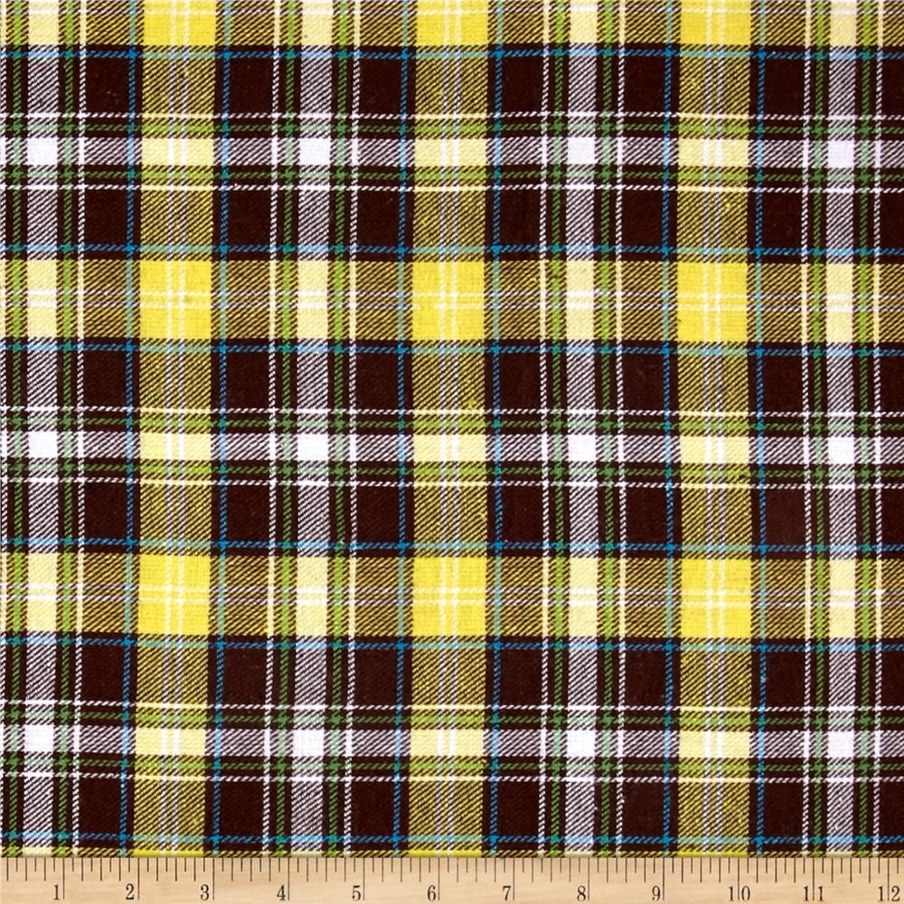 Red flannel fabric  Yarn Dyed Flannel Plaid YellowBrownCream  Shirt scarves Dress