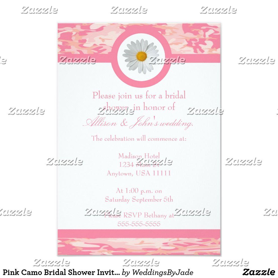 Pink Camo Bridal Shower Invitation | Camo bridal showers, Invites ...