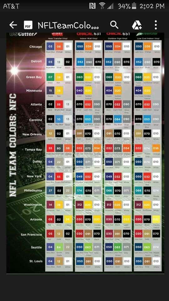 Nfl Team Color Chart Silhouette Htv Pinterest Silhouette