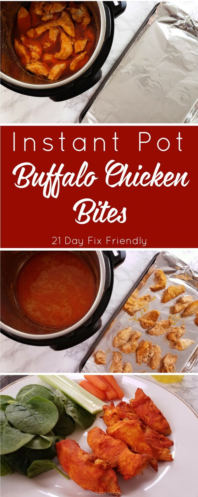 These 21 Day Fix Buffalo Chicken Bites will satisfy your craving! These Instant Pot Buffalo Chicken Bites can be made from fresh or frozen chicken. (21 Day Fix Recipes Snacks)
