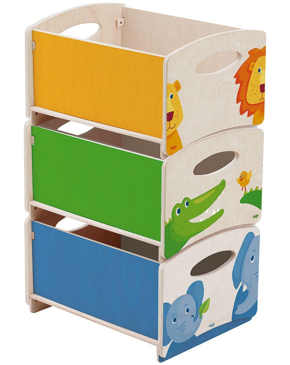 HolzStapelkisten ZOO 3erSet in natur/bunt Kinderzimmer