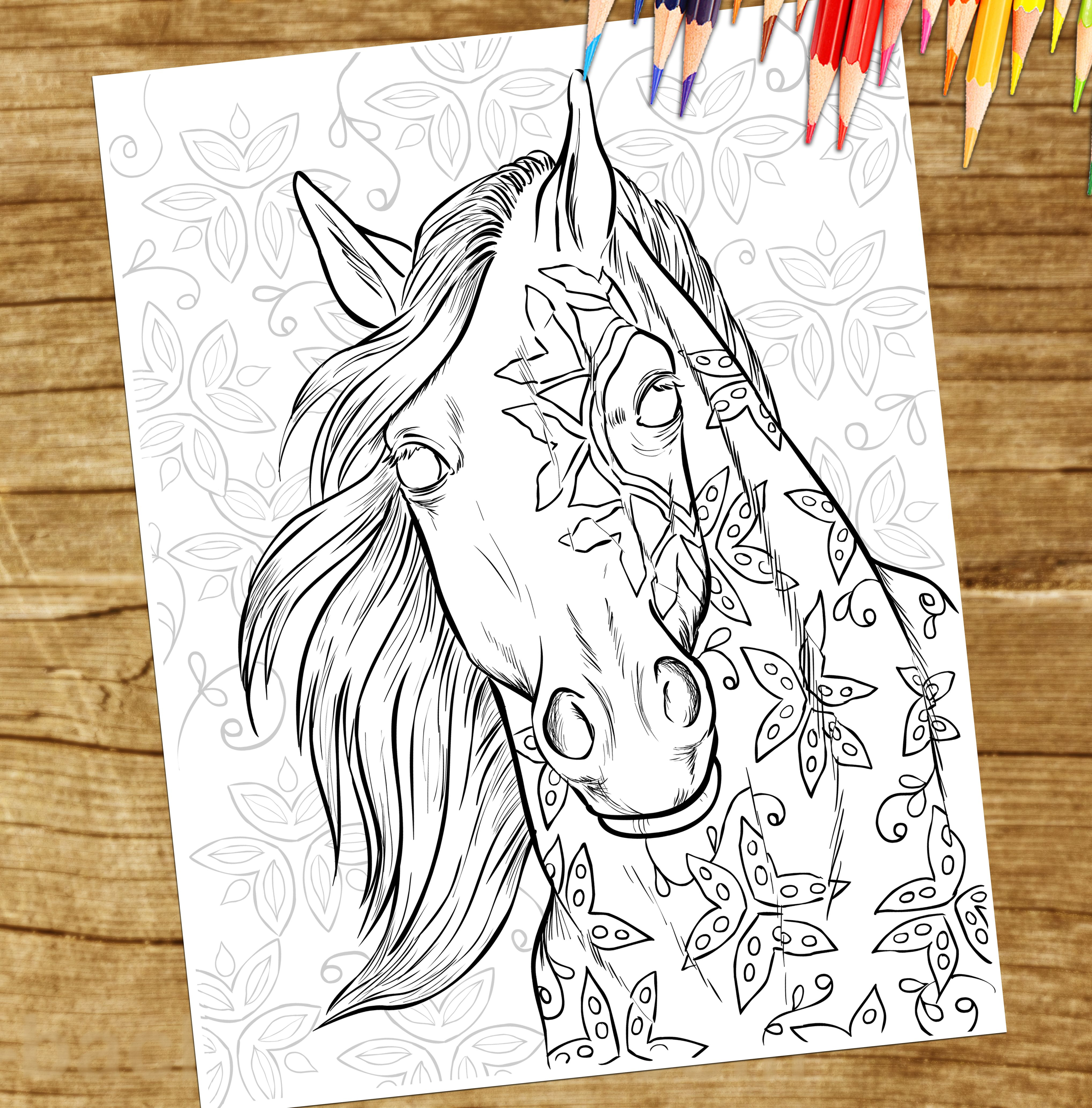 From The Adult Coloring Book Magical World Of Horses For Horse Lovers