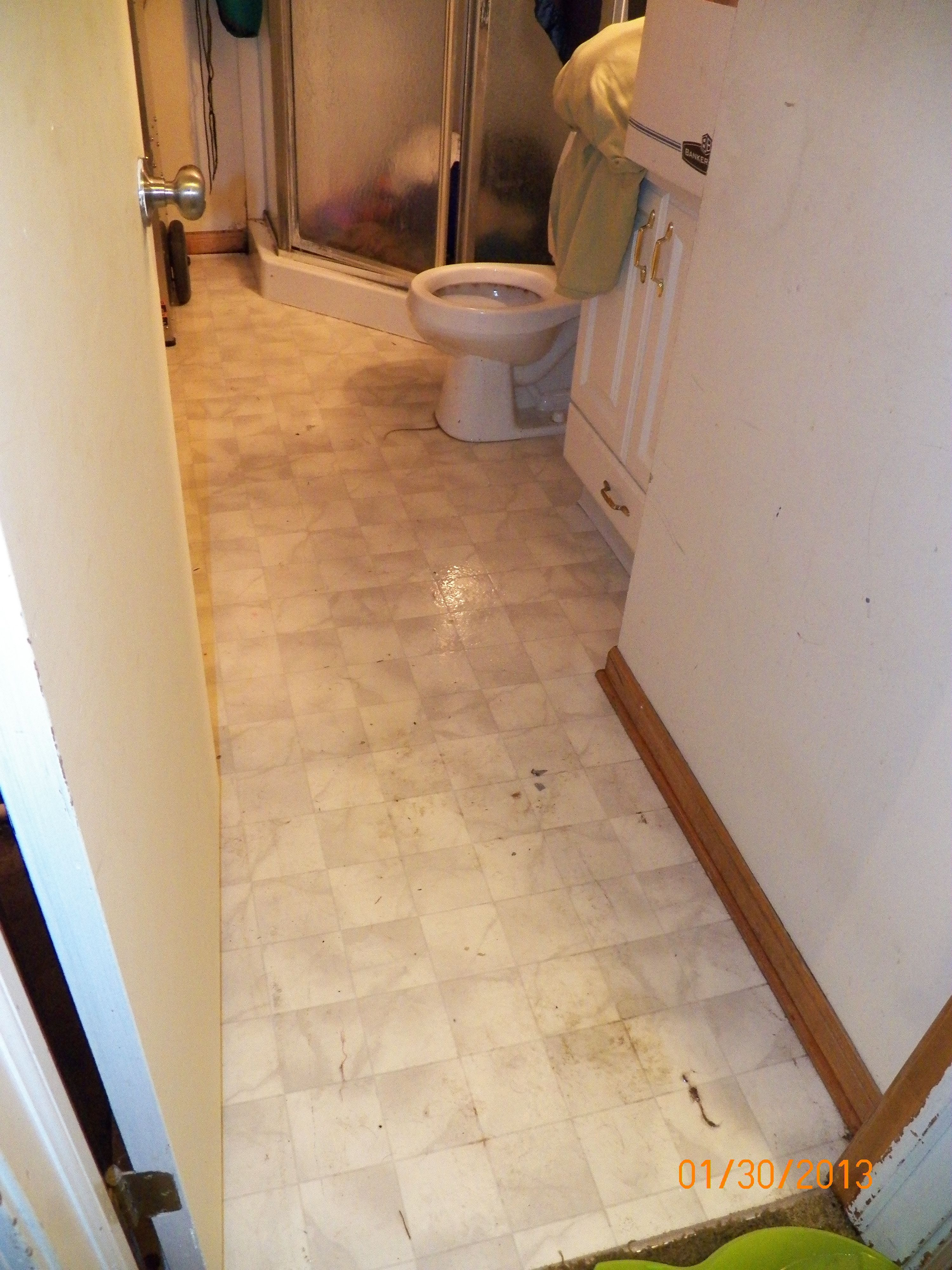 Flooded water from toilet leak. Leaking toilet, Water