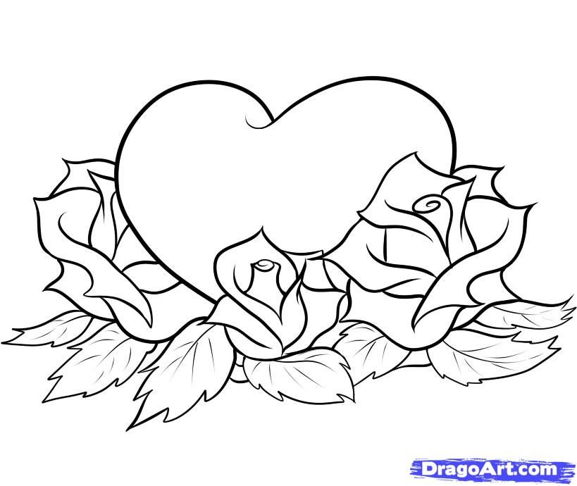 Love Roses And Hearts Drawings | linz stuff | Pinterest ...