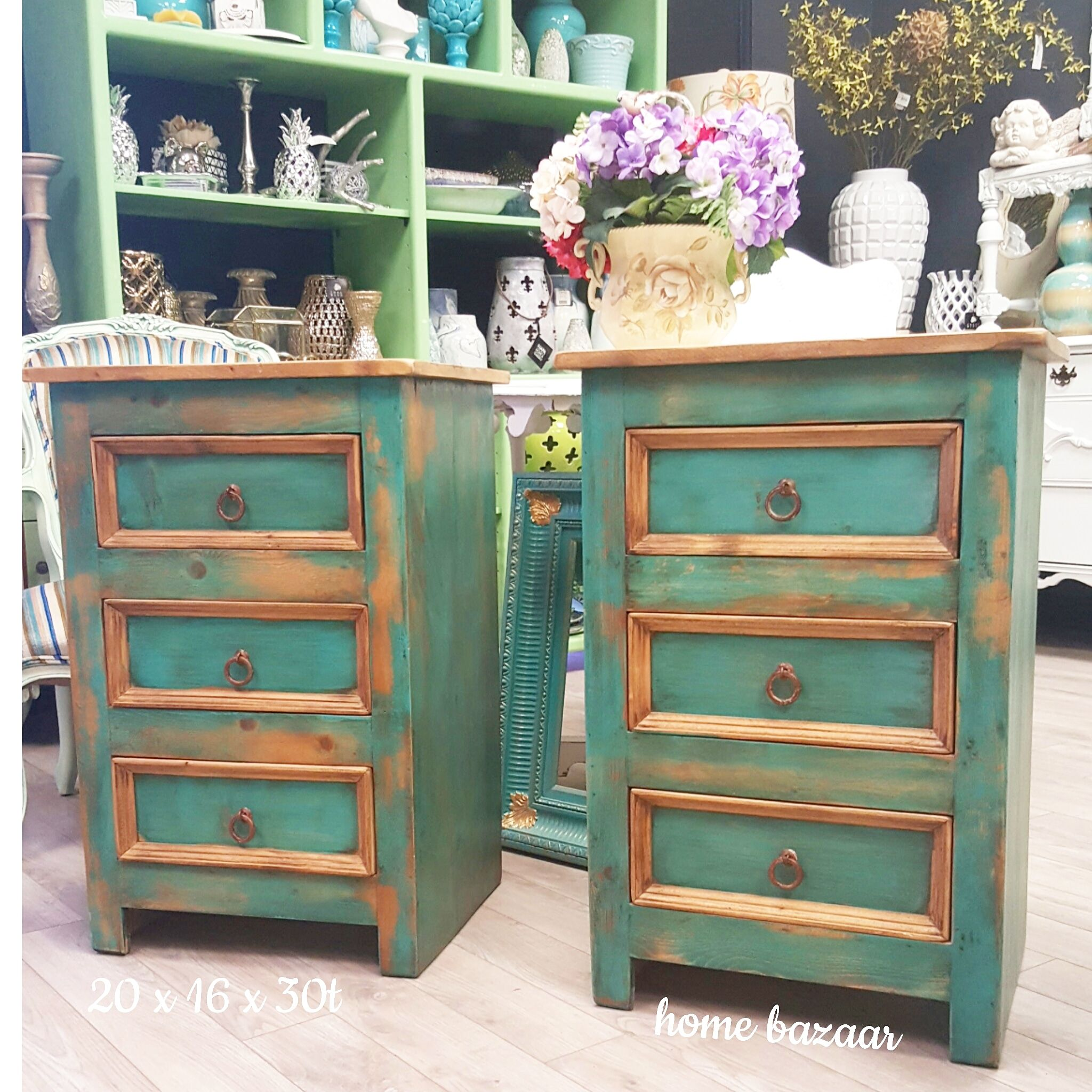 Rustic Chic Matching Pair Tall Chest Of Drawers In Teal Blonde Www Homebazaar Us Www Instagram Com Home Bazaar W Rustic Chic Tall Chest Shabby Chic Furniture
