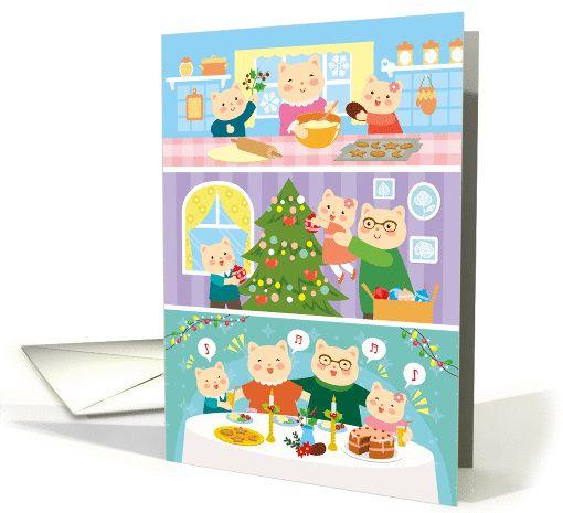Christmas card   family of cartoon cats celebrating card Cats