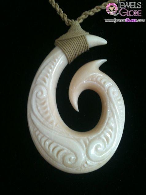 Exquisite fish hook necklace features a bone pendant for Maui fish hook necklace
