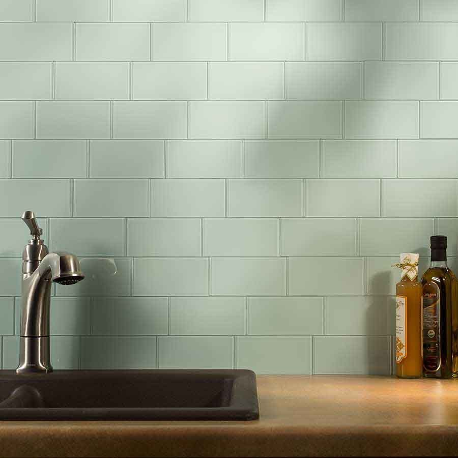 "Peel And Stick Backsplash Tiles: Aspect Backsplash-3""x6"" Glass Tile In Morning Dew"