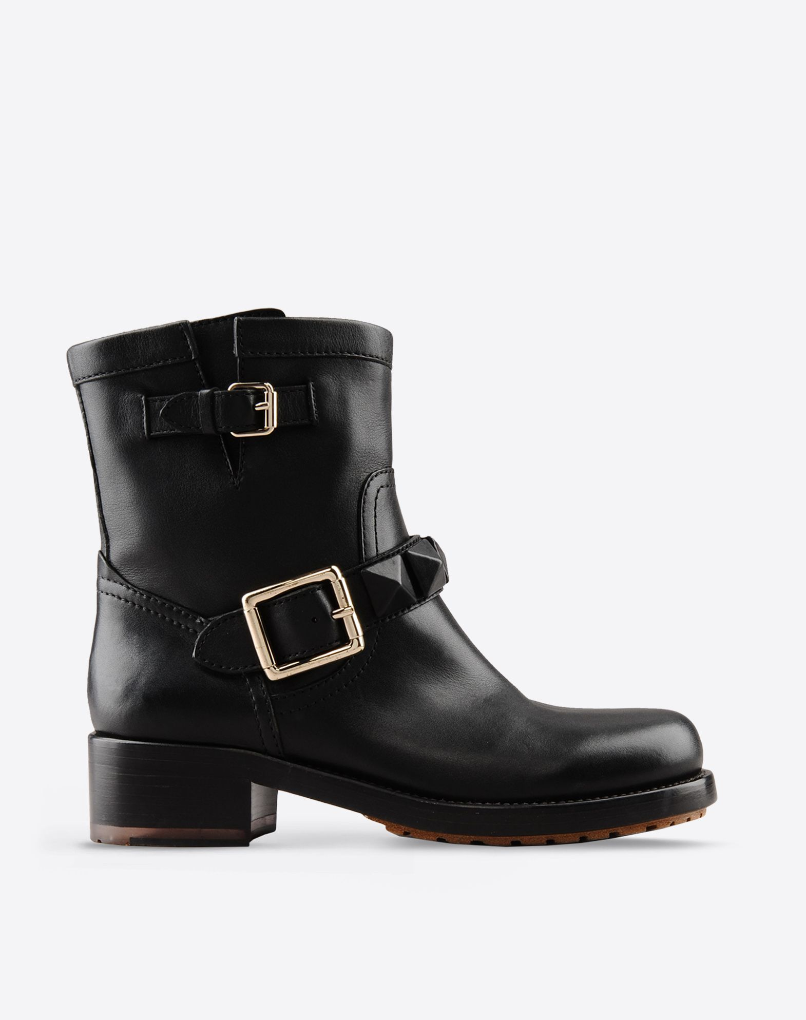 Women Black leather boots with buckles and studs | Jonak
