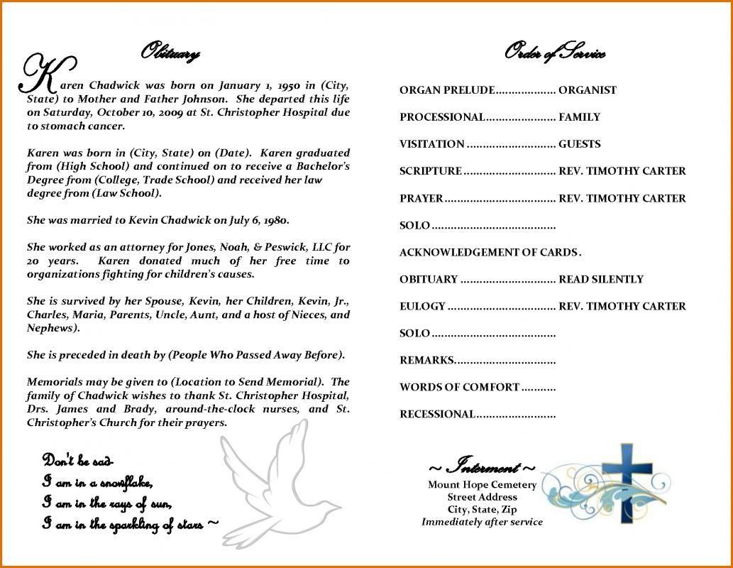 Obituary Template Free Obituaries template, Funeral