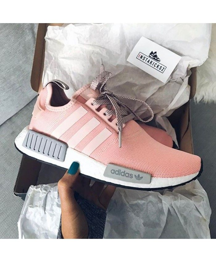 Womens Adidas NMD R1 Wolf Grey Vapor Pink Shoes Work is very fine ... ce5c34d294