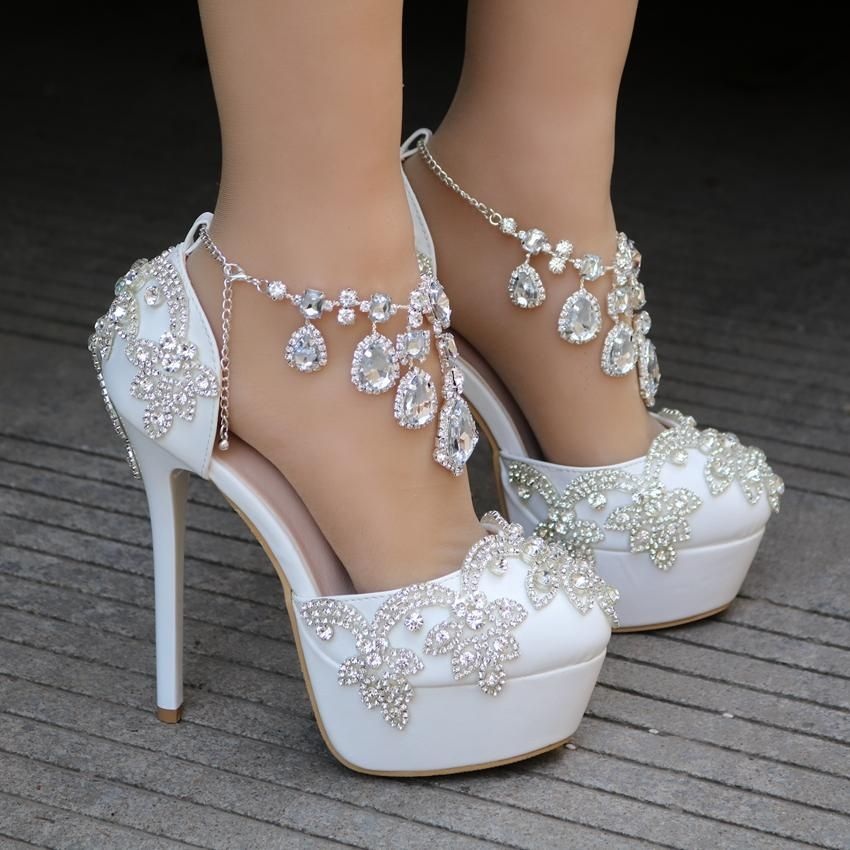 Bling Bridal Crystal Wedding Shoes Ankle Strap Bridal Heels Wedge Wedding Shoes Bridal Heels Wedding Shoes Heels