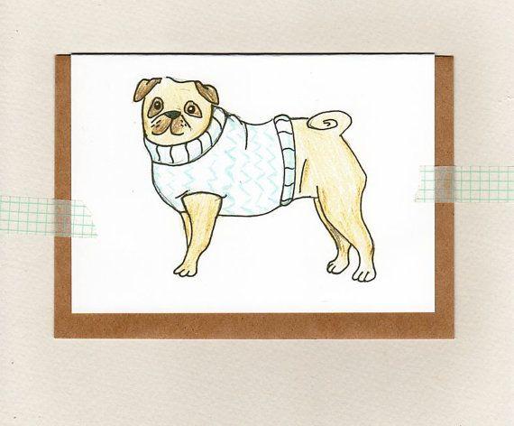 Pug greeting card mini print fawn pug illustration art print pug greeting card mini print australia by thepaisleyfive m4hsunfo