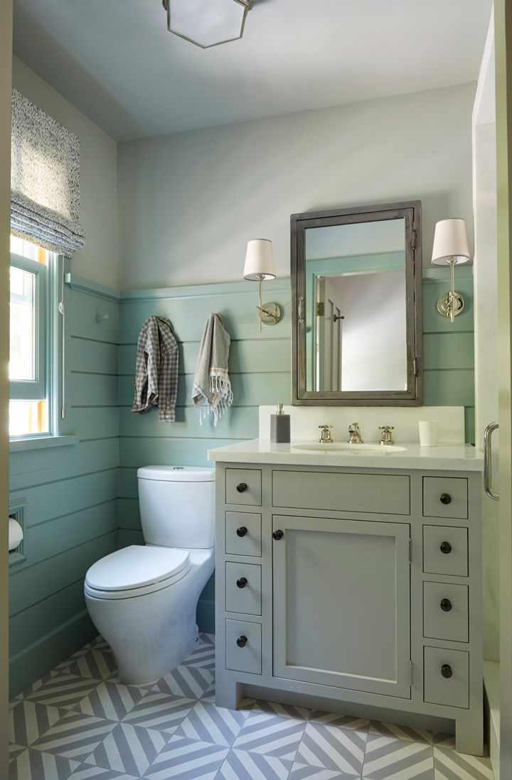 Beautiful farmhouse style bathroom with shiplap walls for Bathrooms in style