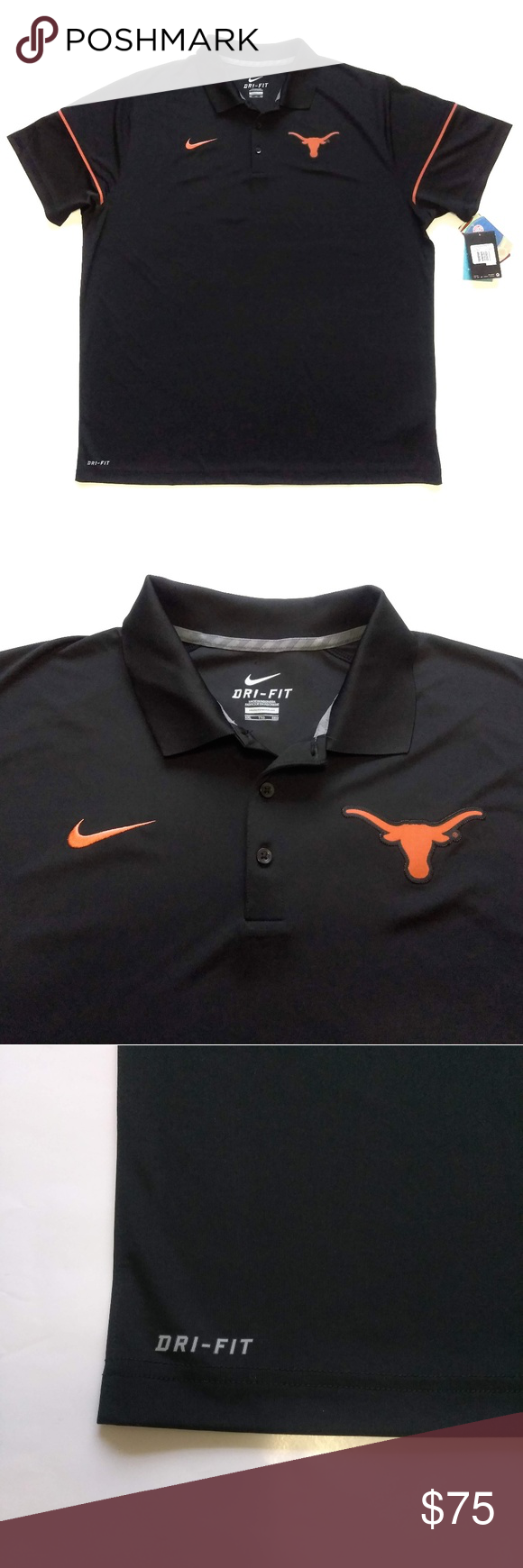 efe3ee52 Nike Dri Fit Texas Longhorns Polo Shirt Mens 2XL You are buying: New ...