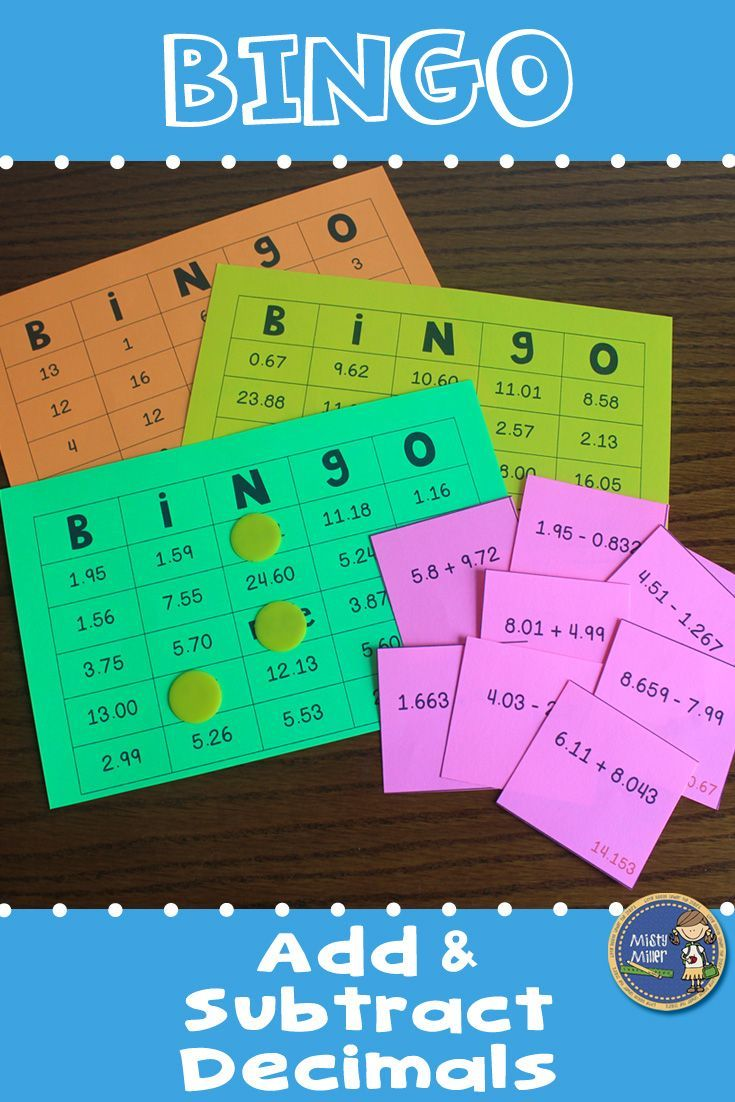 Adding And Subtracting Decimals Bingo Math Game Maths Activities Middle School Math Games 5th Grade Math Games Adding and subtracting fraction bingo