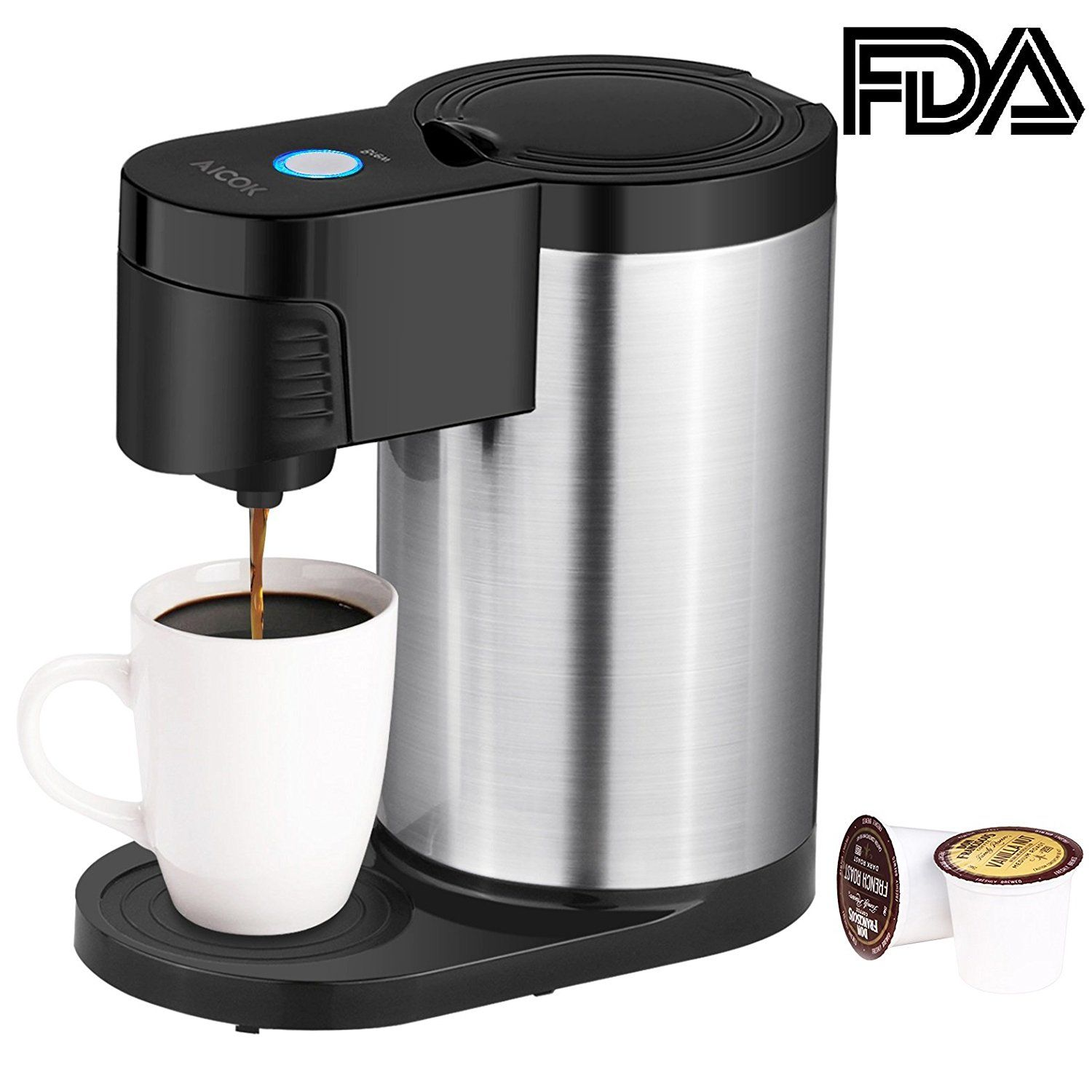 Amazon Com Aicok Single Serve Coffee Maker K Cup Stainless Steel Coffee Machine For Single Cup Coffee Maker Single Serve Coffee Makers One Cup Coffee Maker