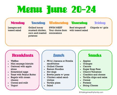 Sample Menu For Summer  Kids  Summer    Sample Menu