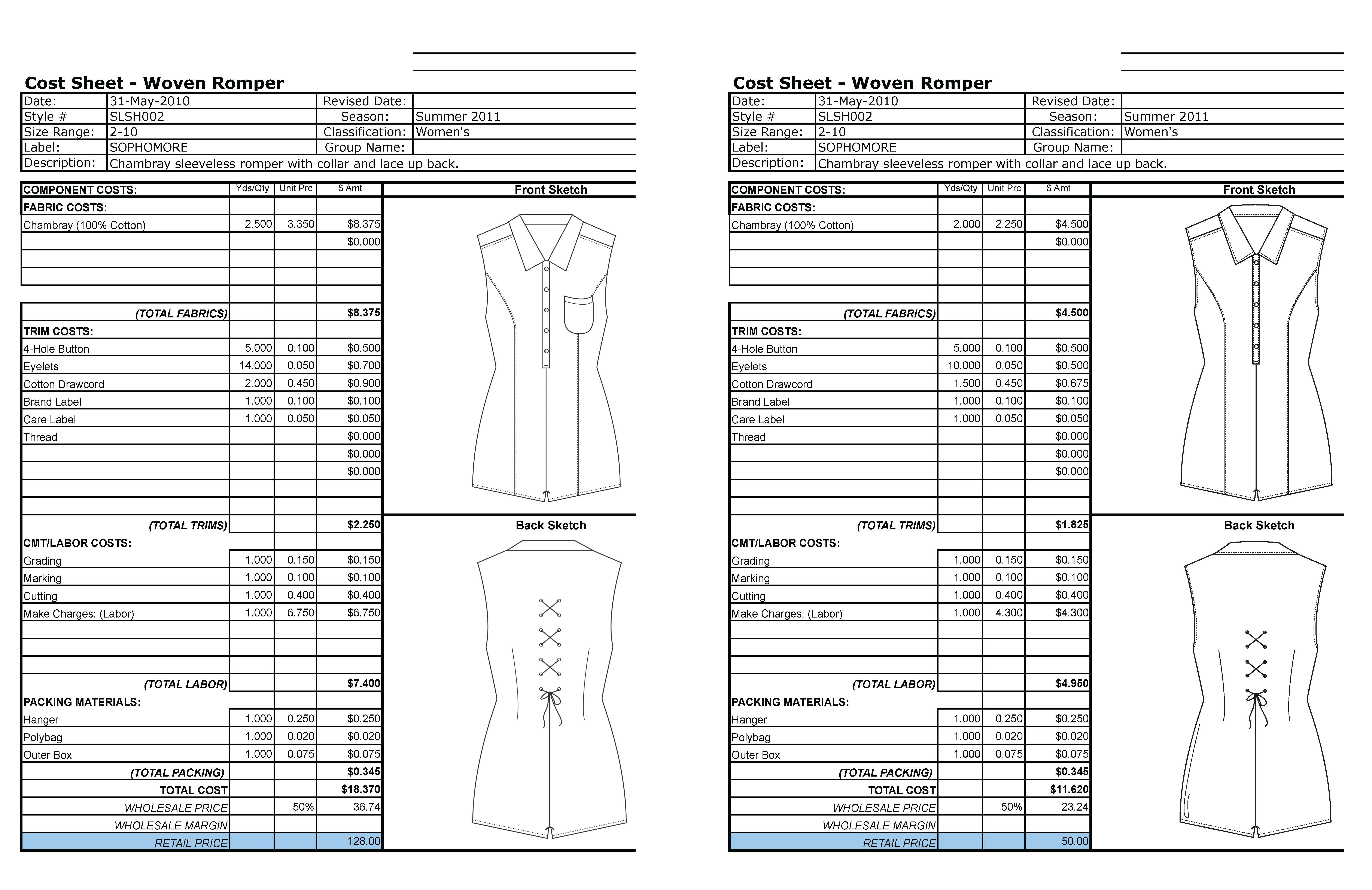 Garment Costing Sheet Google Search Technical Paper Crafts Diy Cost Sheet