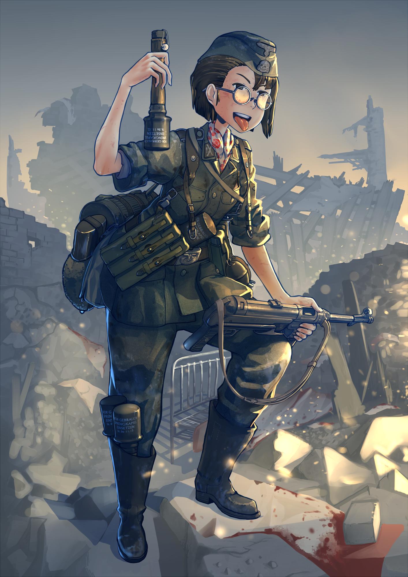 1girl blood commentary erica_(naze1940) glasses gun
