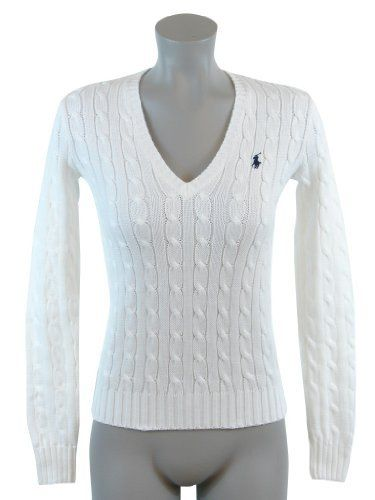Women s Sweaters · Fashion Tips · Pullover · Ralph Lauren Sport Womens  Cable Knit V-Neck Polo Pony Logo Sweater - S - ba2a26c74