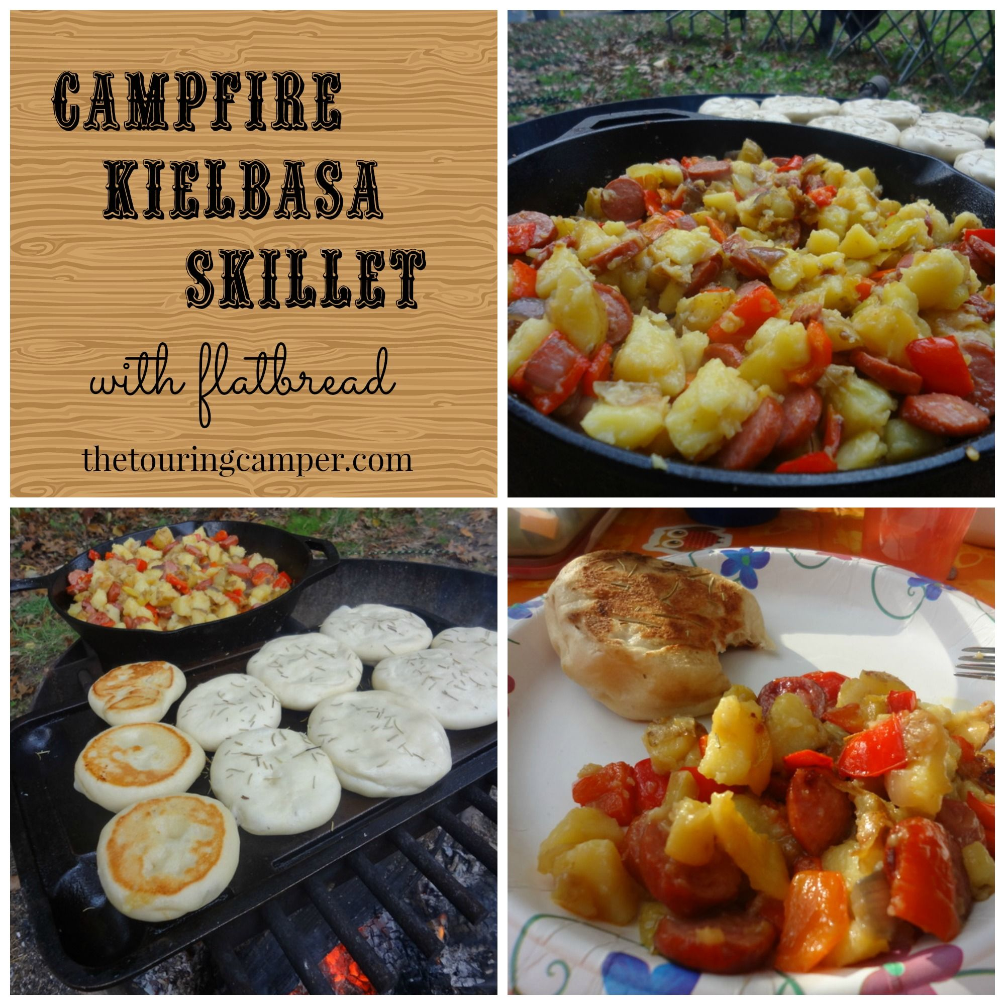 Kids Campfire Cooking And Recipes For Outdoor Cooking For: Campfire Kielbasa Skillet With Flatbread