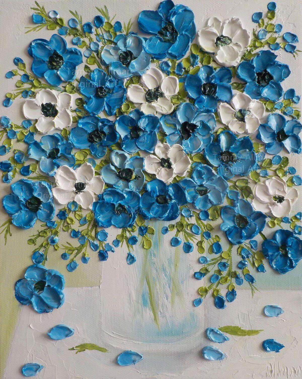 Custom Indigo Blue And White Anemone Oil Impasto Original Etsy In 2020 Anemone Flower Flower Painting White Anemone