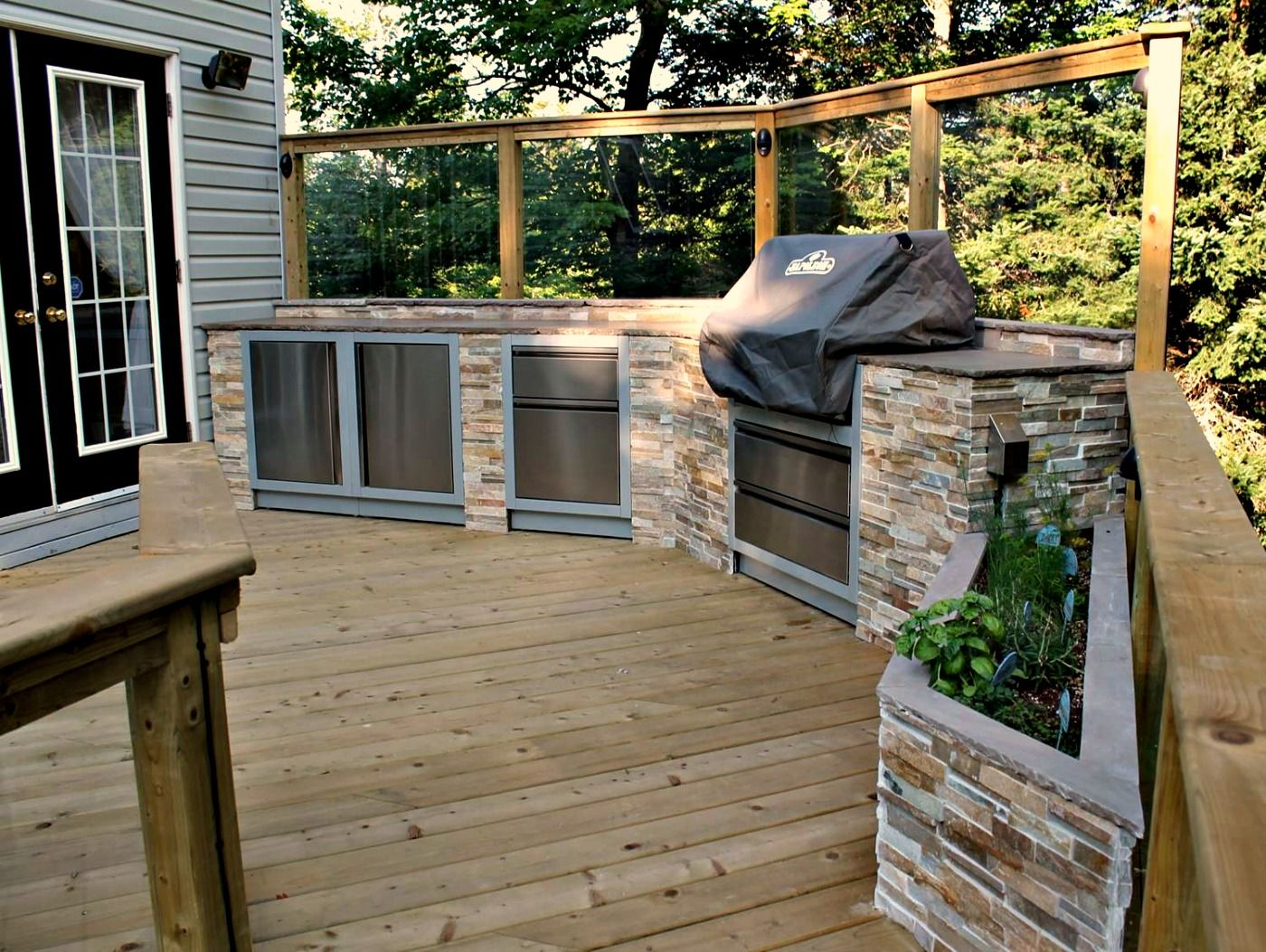 Pressure Treated Deck With Gorgeous Outdoor Kitchen And Custom Built Stone Herb Garden Outdoor Kitchen Small Backyard Landscaping Deck