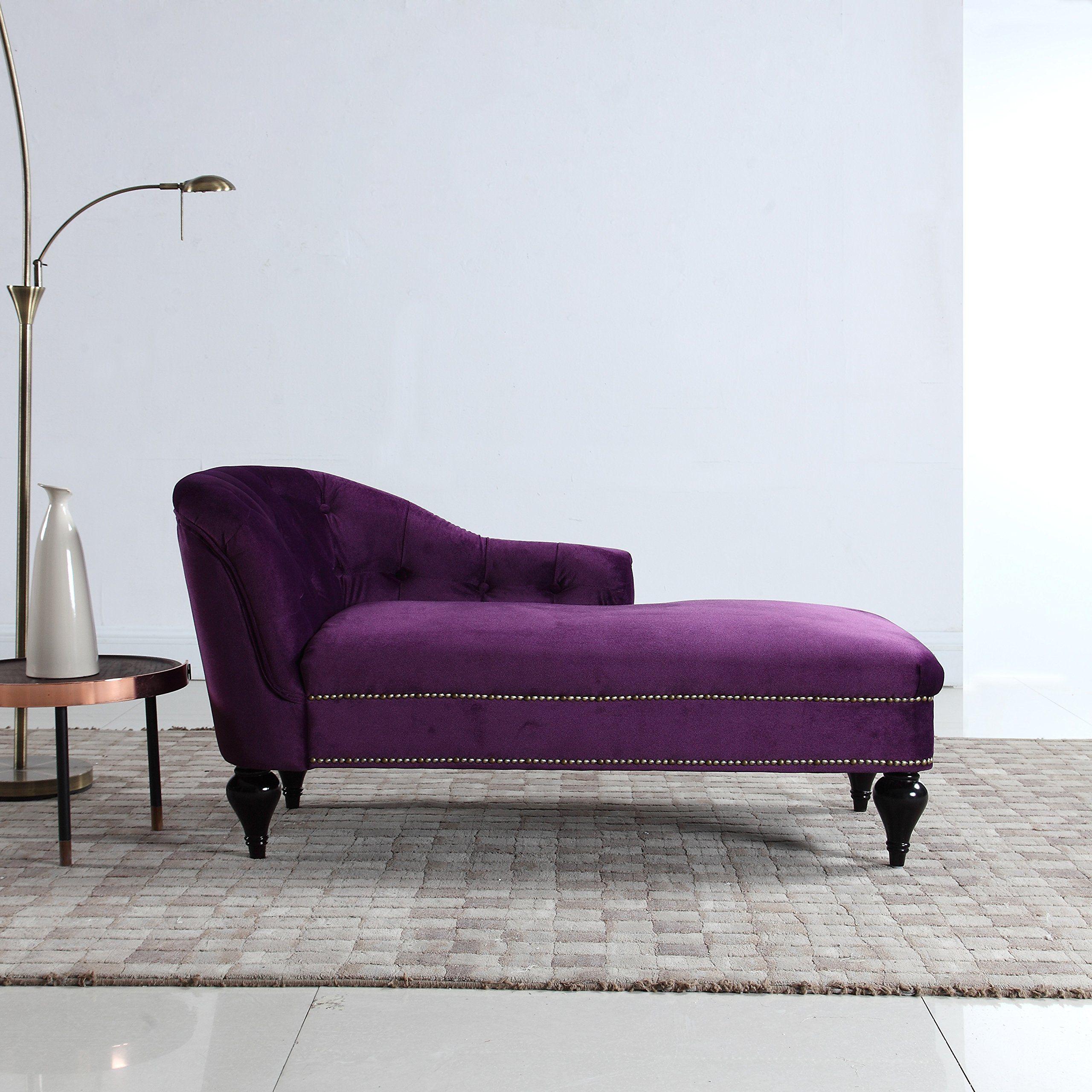 Divano Roma Furniture Modern And Elegant Kids Velvet Chaise Lounge For Living Room Or Bedroom Dark Purple Chaise Lounge Indoor Living Room Chaise Chaise Lounge