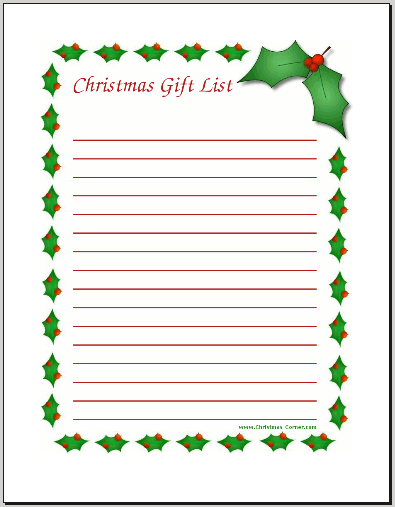 christmas gift lists templates
